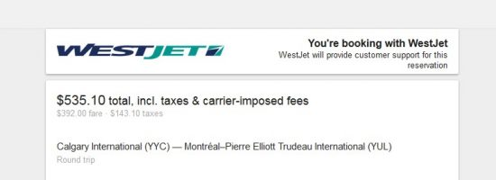 booking with westjet