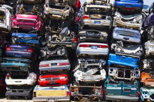 Discarded Junk Cars Piled Up After Crushing